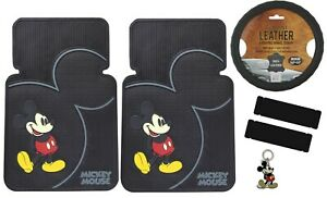 6pcs Disney Mickey Mouse Car Truck Front Floor Mats Steering Wheel Cover Set