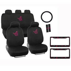 New Pink Butterfly Car Front Rear Seat Covers Steering Wheel Cover Set