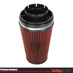 Red 4 Inlet Cold Intake High Flow Round Cone Air Filter For Gmc Chevy