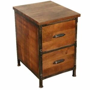 Y decor Solid Wood 2 drawer Handmade Rustic Filing Cabinet Side Table Night