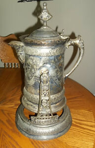 Meriden Britannia Co Silverplate Huge Water Pitcher And Tilting Stand 1868 1888
