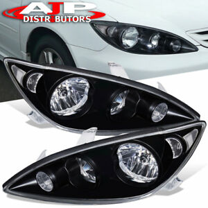 For 2005 2006 Toyota Camry Black Housing Clear Reflector Clear Lens Headlights