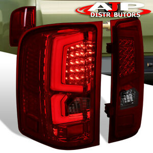 07 13 Silverado 1500 Direct Replacement Led Brake Tail Lights Lamps Smoked Red