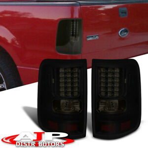 For 04 2008 Ford F 150 Style Side Body Black Housing Smoked Lens Led Tail Lights