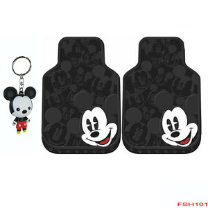 New 3pcs Mickey Mouse Expression Car Truck Suv Front Rubber Floor Mats Keychain