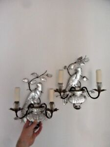 20 S Pair French Art Deco Double Candle Crystal Parrot Sconces By Maison Bagues