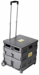 Quik Cart Two wheeled Collapsible Handcart With Black Lid Rolling Utility Car