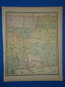 Vintage 1893 New Mexico Territory Map Old Antique Original Atlas Map 102718