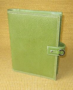 Classic Size Green Leather Franklin Covey Wire Bound Compass Planner Cover