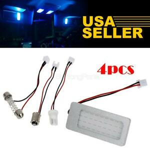 4x Universal Led Interior Lights Dome Map Blue Lamps Cob 27chips 12v