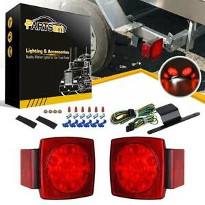 Red Led Camper Trailer Rv Boat Stop Tail Brake License Light Kit W wire Harness