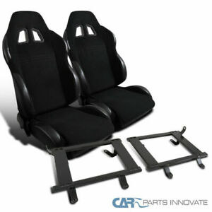 Ford 99 04 Mustang Black Cloth Pvc Racing Seats tensile Steel Base Mount Bracket