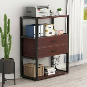 Little Tree 2 drawer Dresser Vertical Tall Filing Cabinet With 3 tier Open Shelf