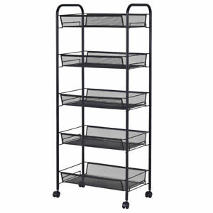 5 Tier Mesh Rolling File Utility Cart Storage Basket Home Office Kitchen