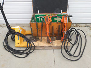 Two Stanley Br Pneumatic Breaker Jackhammers Hammers W Crate Hoses
