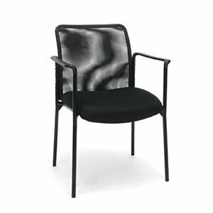 Essentials Mesh Upholstered Stacking Guest reception Chair With Arms Modern