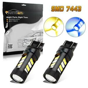 2x 7443 Off Road Blue Amber 60w Pair Front Turn Signal Light Led Bulb Switchback