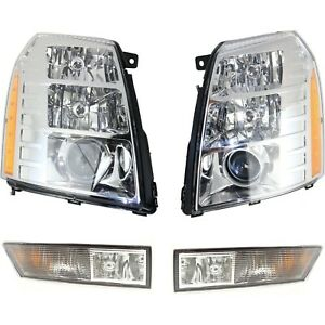 Headlight Kit For 2009 2014 Cadillac Escalade Left And Right 4pc