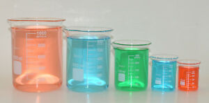 5 Beaker Set 50 100 250 600 1000ml Griffin Borosilicate Glass Beakers Lab New