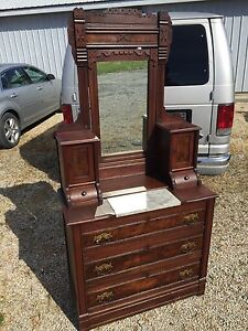 Antique Victorian Eastlake Marble Top Dresser 18d36w36h75h Xenia Il G W Campbell