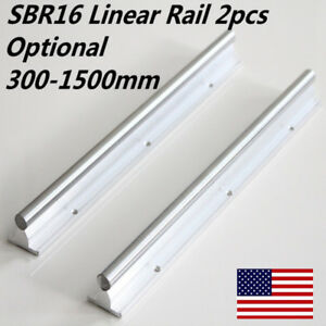 2 sbr16 Cnc Machine L300 1500mm Fully Supported Linear Bearing Rail Us Shipping
