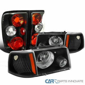 93 97 Ford Ranger Black Projector Fog Headlights Turn Signal Lamps Tail Lights