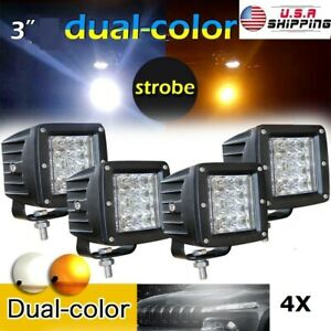 4pcs Pods 48w 3x3 Led Work Light Flush Mount White Amber Strobe Dual Color Flash