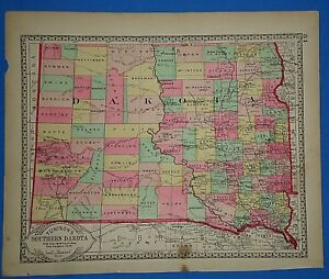 Vintage 1887 Southern Dakota Territory Map Old Antique Original Tunison Atlas