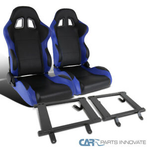 Ford 79 98 Mustang Black Blue Pvc Racing Seats tensile Steel Base Mount Brackets