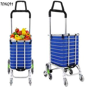Folding Shopping Cart Jumbo Size Basket W 8 Wheels For Laundry Grocery Travel