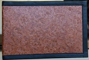 Leather 7 Ring Business Check Binder Chestnut Western Floral Embossed Cowhide