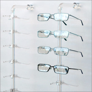 Optical Display Acrylic Wall Mount Eyewear Display Rod With 10 Regular Y clips