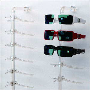 Optical Display Acrylic Wall Mount Eyewear Display Rod With12 Large Y clips
