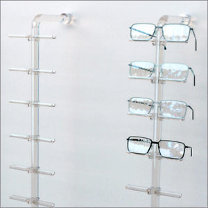 Optical Display Acrylic Wall Mount Eyewear Display Rod With12 Flat Clips
