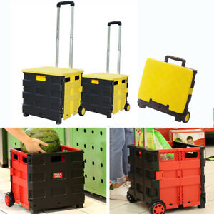 Foldable Plastic Shopping Cart Trolley Portable Pack roll Folding Grocery Basket
