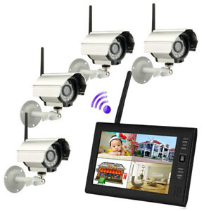 7 Tft Lcd Monitor 2 4g 4ch Wireless Dvr Ir cut Hd Camera Home Security System