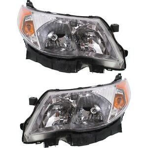 Headlight Set For 2009 2013 Subaru Forester Left And Right With Bulb Capa 2pc