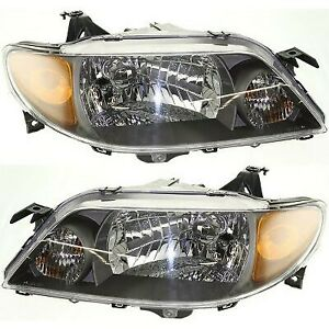 Halogen Headlight Set For 2001 2003 Mazda Protege W Metal Coat Bezel bulbs Pair