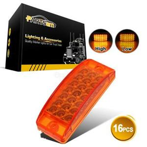 16 Pcs 6x2 Amber Sealed Rectangular Clearance Marker Lights 21 Led Truck Trailer