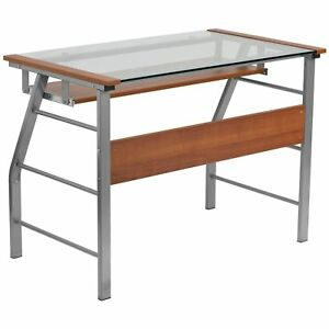 Glass Computer Desk With Pull out Keyboard Cherry Laminate
