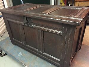 English Blanket Chest Early 18th C Oak Paneled Construction Iron Lock 22h40w20d
