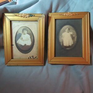 Antique Baby Photos In Golden Wood Frames W Metal Decoration 1880 S