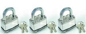 Lock Sey By Master M1ka lot Of 3 Keyed Alike Magnum Stainless Carbide