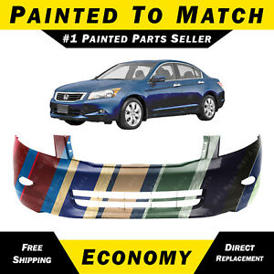 New Painted To Match Front Bumper Cover For 2008 2010 Honda Accord V6 W Fog