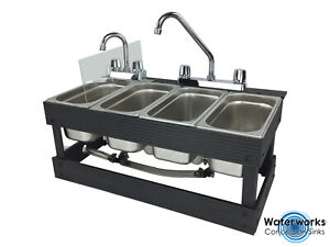 Portable Sink Mobile Concession 4 Compartment Sink Table Top Sink