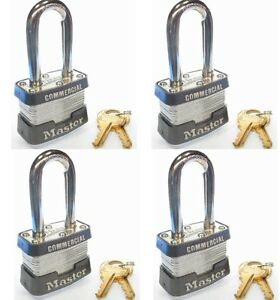 Lock Set By Master 3kalf lot 4 Keyed Alike Long Shackle Commercial Padlocks