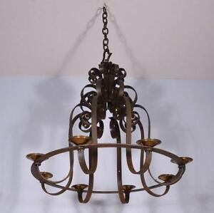Large 32 Diameter Antique French Wrought Iron Chandelier Hanging Lamp