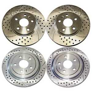 Front Rear Set 4 Drilled Slotted Performance Rotors For 2008 2014 Cadillac Cts