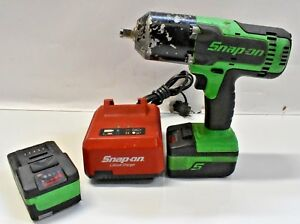 Snap On 18v 1 2 Green Impact Wrench Ct8850g Wcharger 2 Batteries Free Shipping