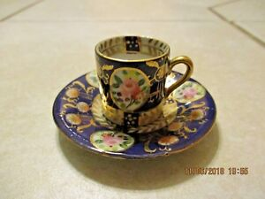 Vintage Miniature Teacup And Saucer Japan Blue Floral